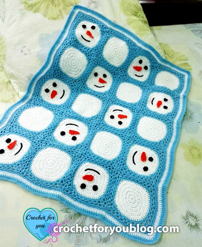Crochet Snowman Granny Square and Blanket – free pattern