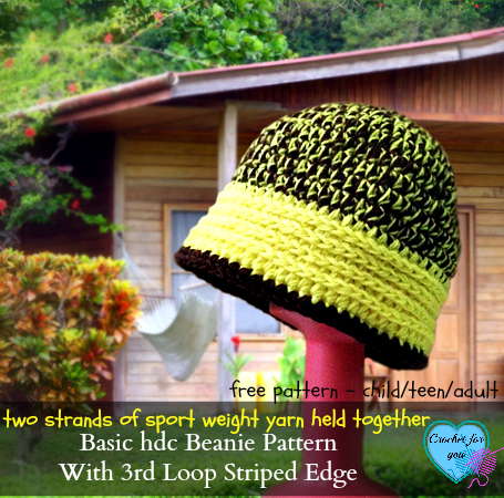 Basic hdc Crochet Beanie Hat Pattern with 3rd Loop Striped Edge – free pattern