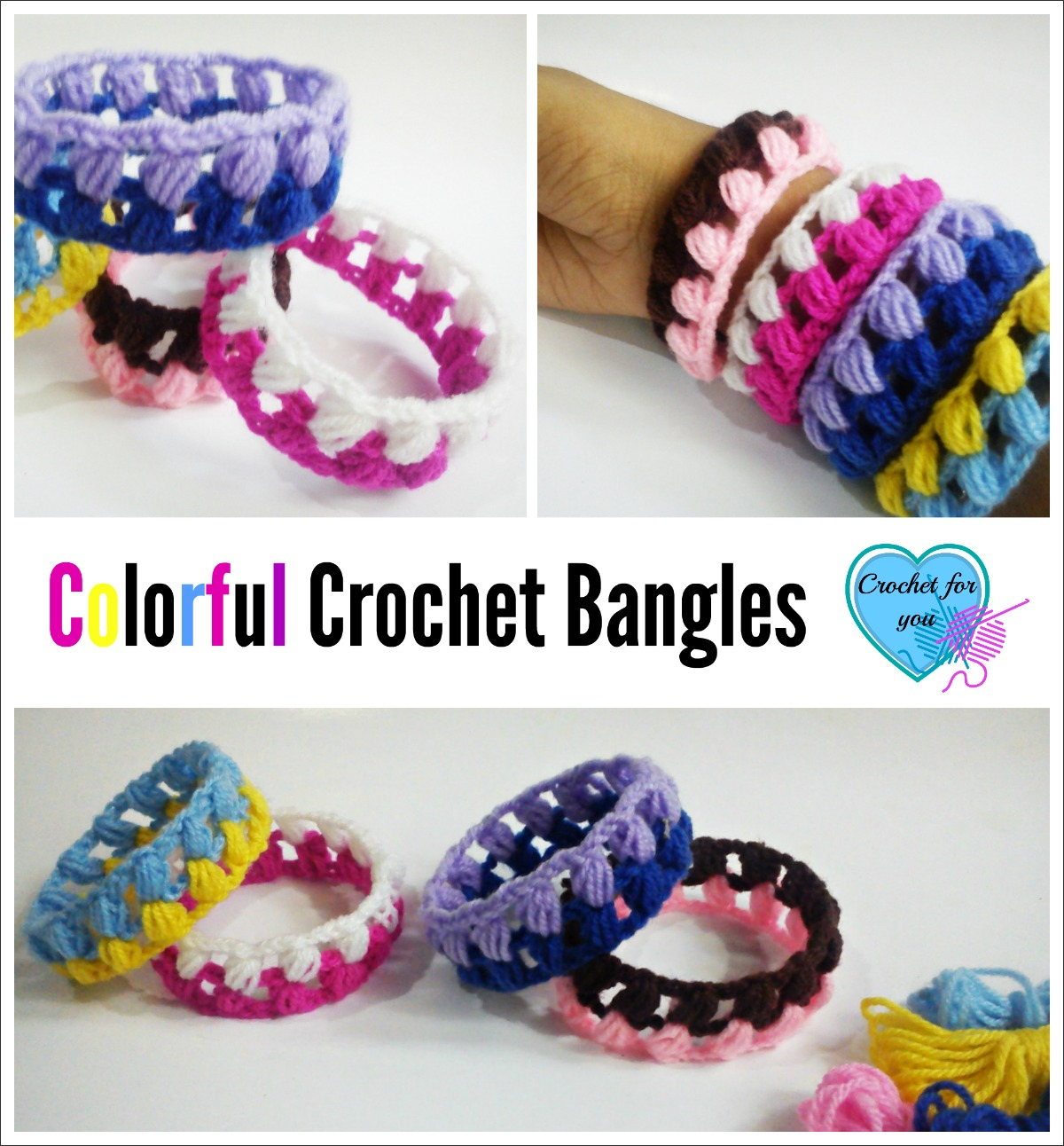 Crochet Colorful Crochet Bangles - free pattern
