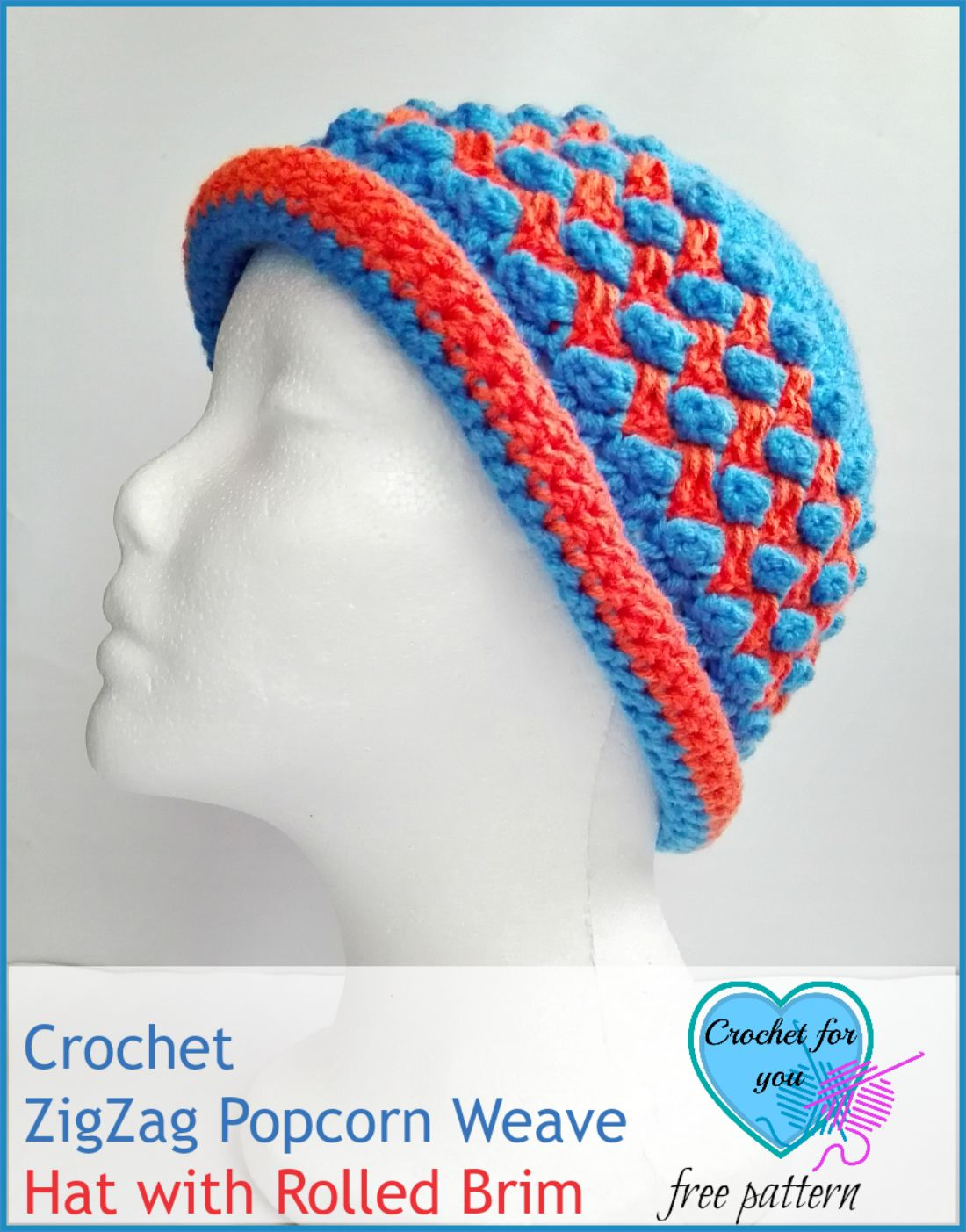 Crochet ZigZag Popcorn Weave Hat with Rolled Brim - free pattern