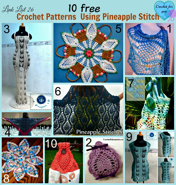 Link List 26 10 free Crochet Patterns Using Pineapple Stitch