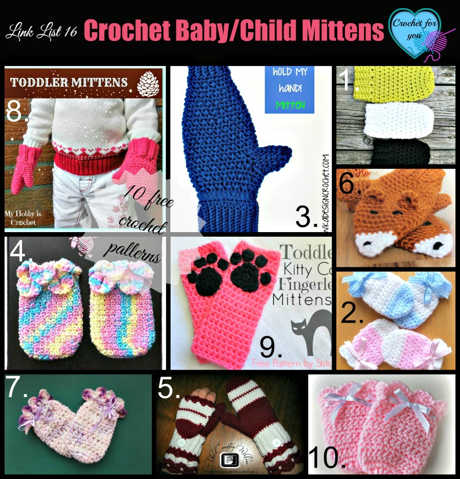 10 Free Crochet Mitten Patterns For Babies And Children Crochet