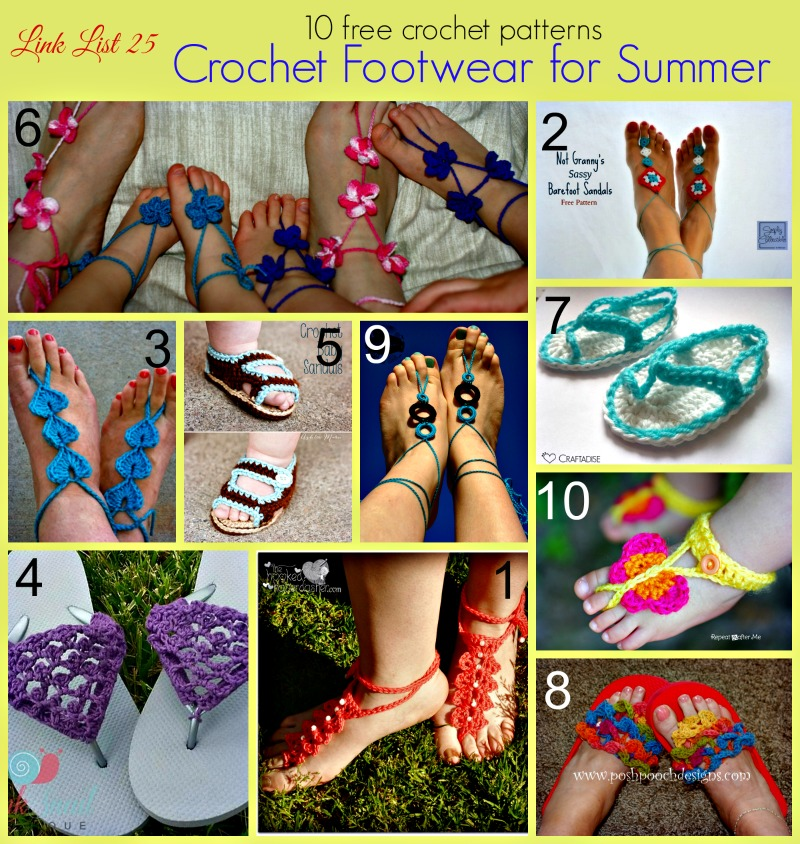10 Free Crochet Footwear Patterns For Summer Crochet For You