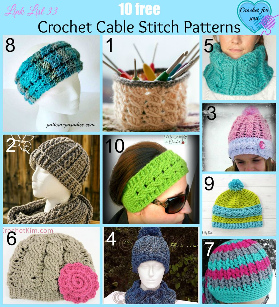 10 Free Crochet Cable Stitch Patterns - Crochet For You