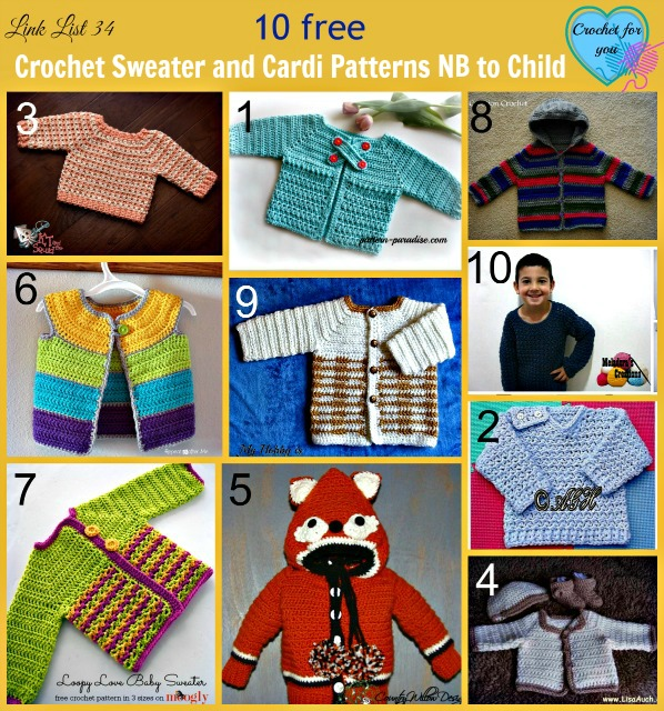 Crochet Sweater and Cardi Patterns NB to Child - 10 free patterns