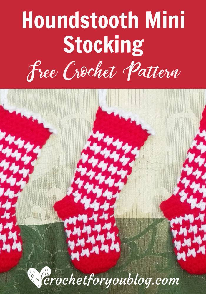 Houndstooth Mini Stocking Free Crochet Pattern Crochet For You