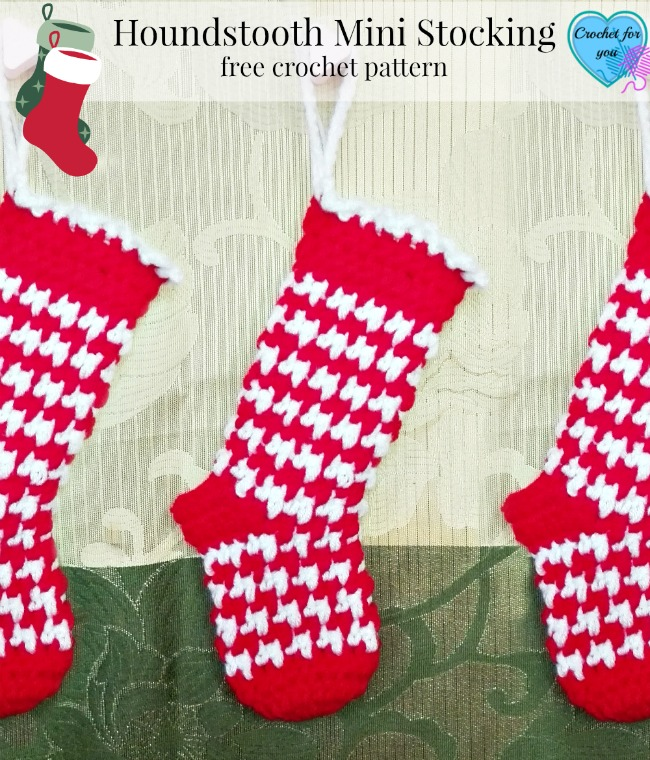 Houndstooth Mini Stocking - free crochet pattern
