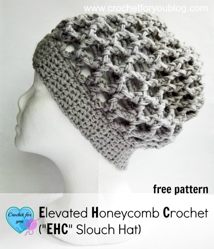 "Free Elevated Honeycomb Crochet (""EHC"" Slouch Hat) Pattern"