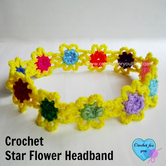 Crochet Star Flower Headband - free pattern
