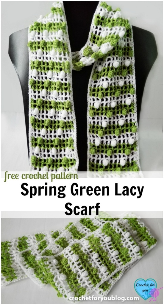 Spring Green A Lacy Crochet Mesh Scarf Free Pattern Crochet For You