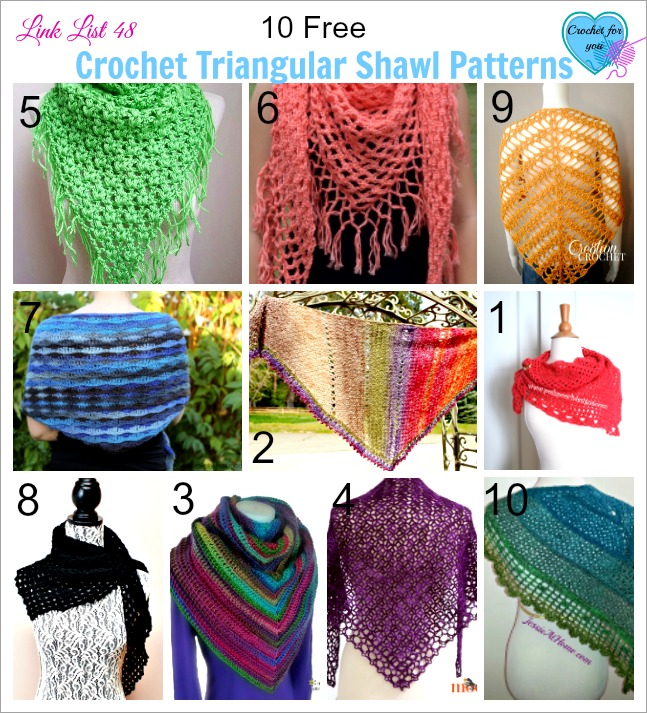 Link list 48: 10 Free Crochet Triangular Shawl Patterns