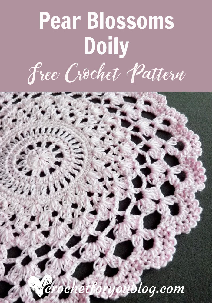 Crochet Pear Blossoms Doily Free Pattern - Crochet For You