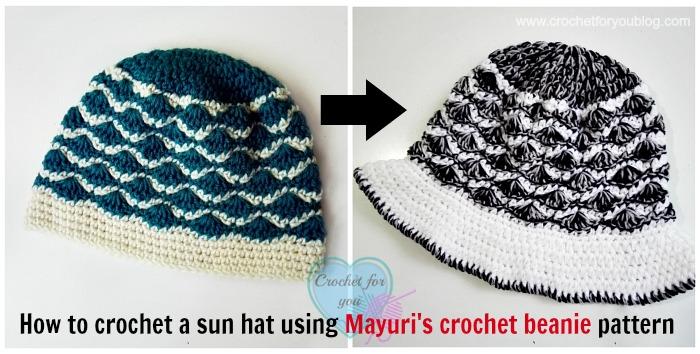 How to crochet a sun hat using Mayuri's crochet beanie pattern