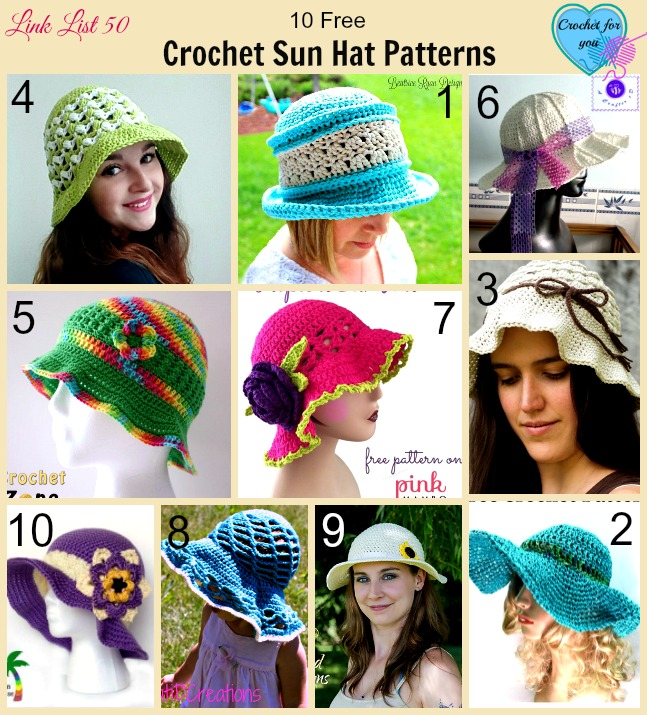 Link list 50: 10 Free Crochet Sun Hat Patterns
