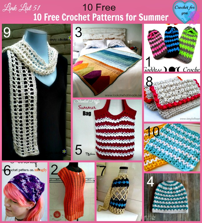 Link list 51: 10 Free Crochet Patterns for Summer