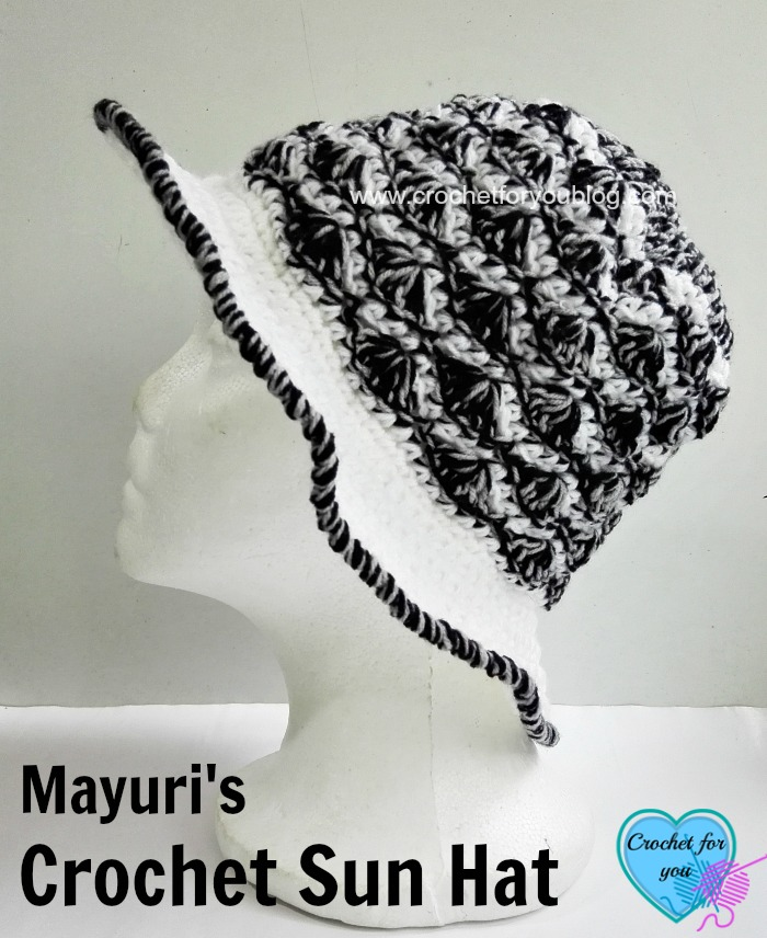 How to crochet sun hat using beanie pattern