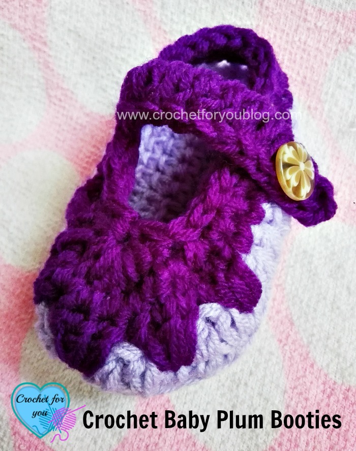 Crochet Baby Plum Booties - free pattern
