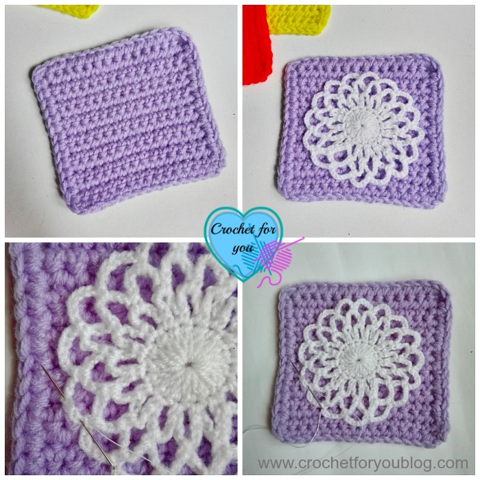 Crochet Easy Square Coaster - free pattern