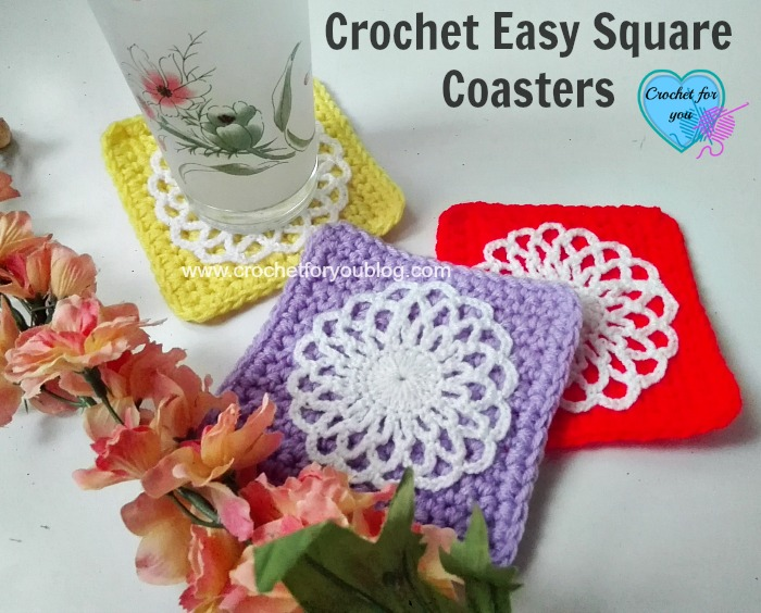 Free Crochet Easy Square  Coaster Pattern