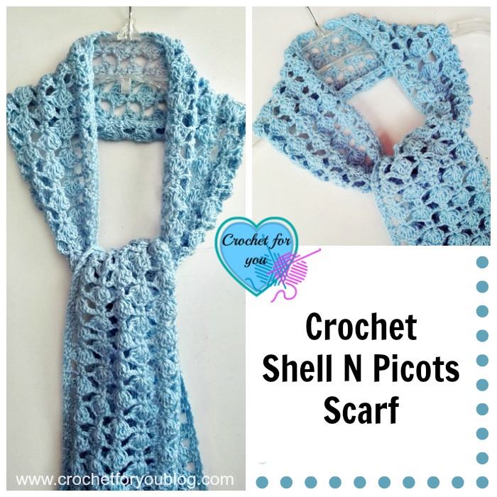 Crochet Shell N Picots Scarf - free pattern