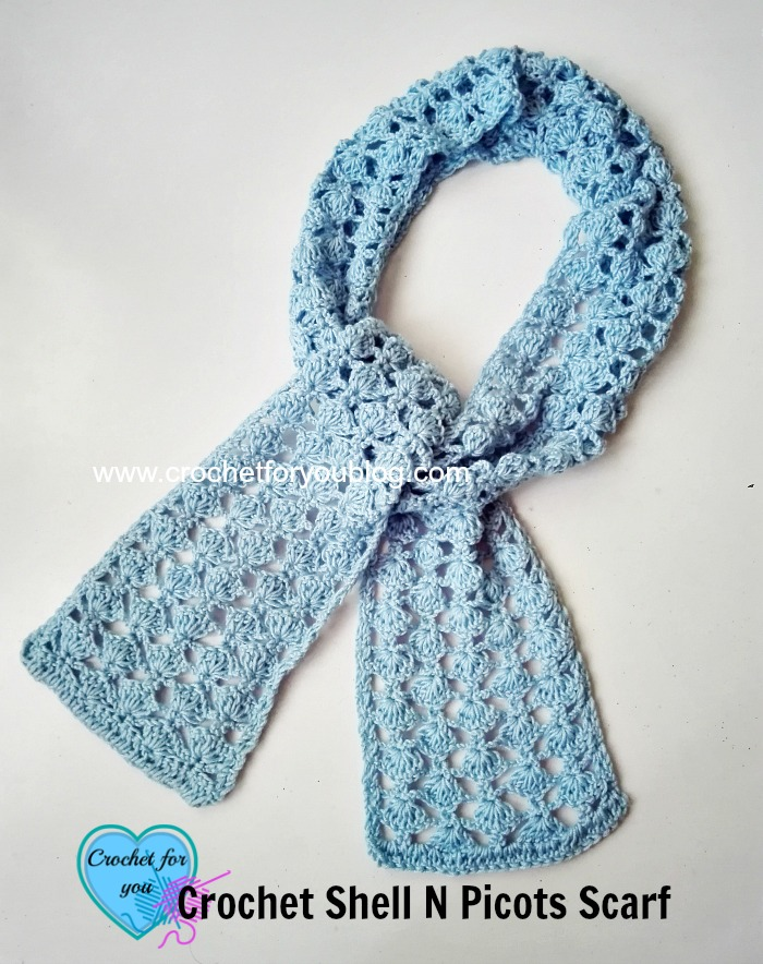 Crochet Shell N Picots Scarf - free pattern