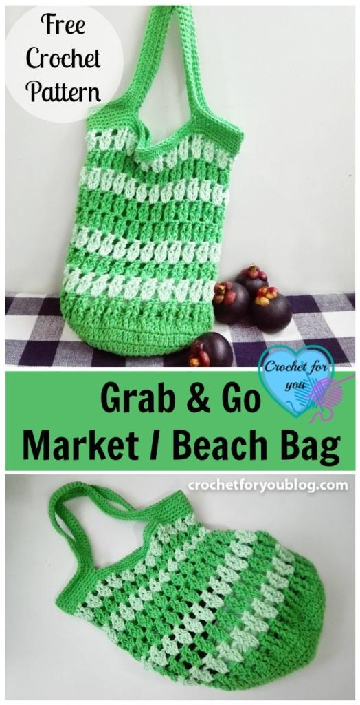 Crochet Grab Bag Pattern : Grab & Go Market or Beach Bag Free Crochet Pattern ...