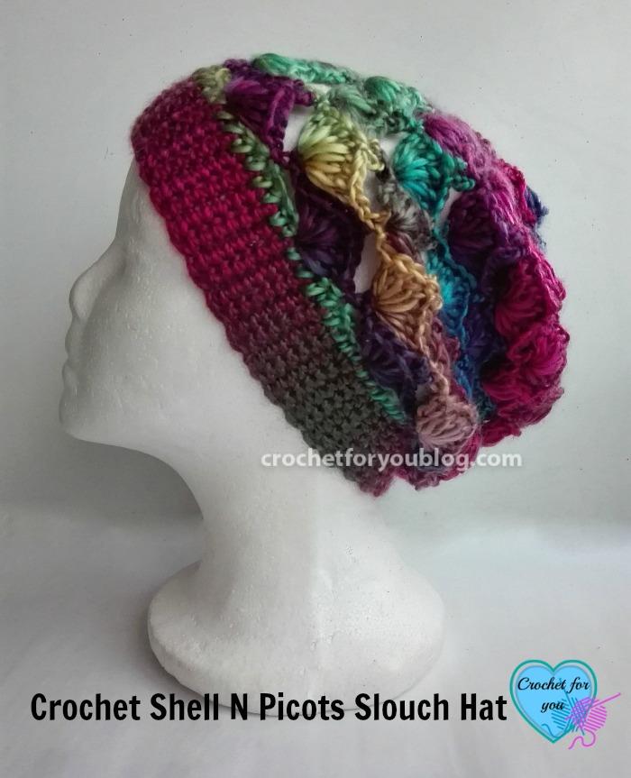 Crochet Shell N Picots Slouch Hat Free Pattern - Crochet ...