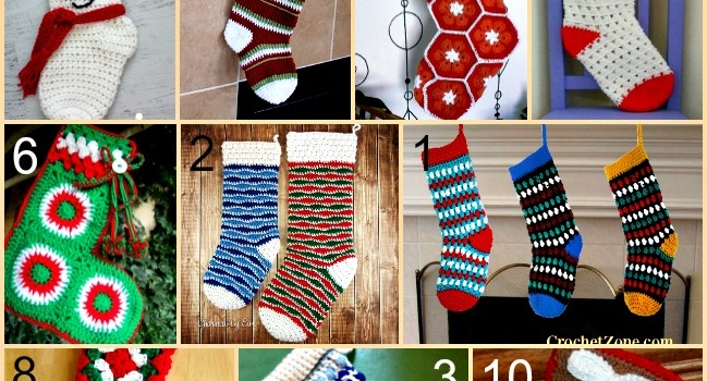 Link list 62: 10 Free Crochet Christmas Stockings Patterns