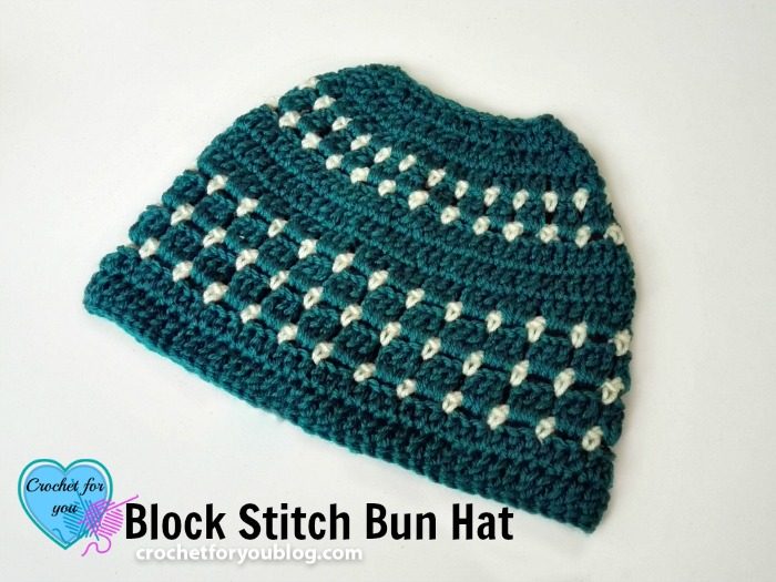 Block Stitch Bun Hat Free Crochet Pattern