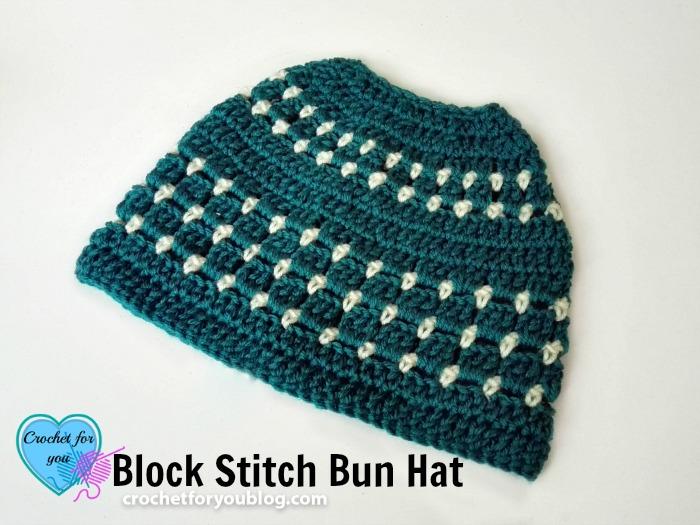 b83cdecbe8e Block Stitch Bun Hat Free Crochet Pattern - Crochet For You