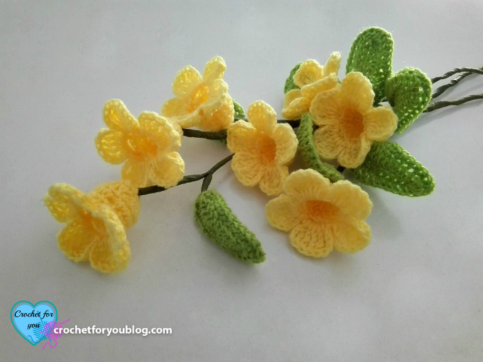 Crochet 3d Flower Bouquet Golden Trumpet Vine Free Pattern
