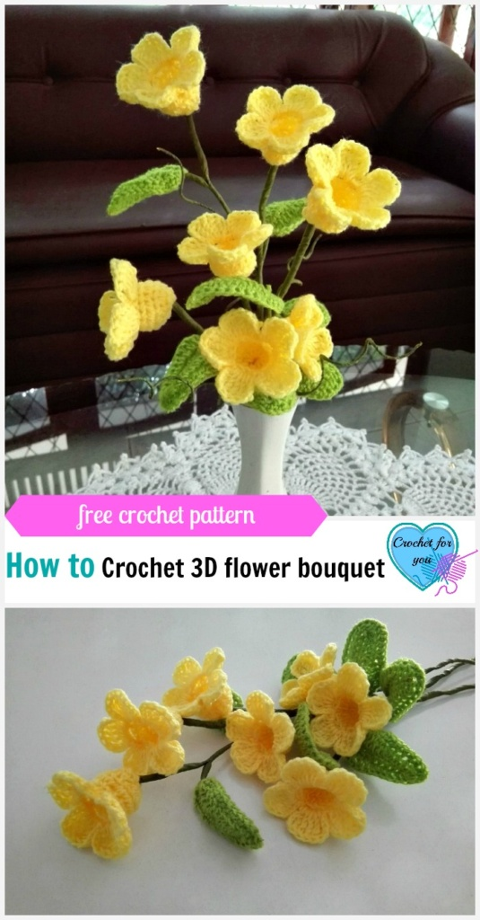 Crochet 3d Flower Bouquet Golden Trumpet Vine Free Pattern