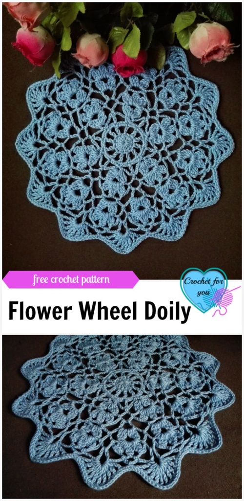 Flower Wheel Doily - free crochet pattern