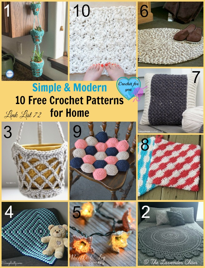 Simple and Modern 10 Free Crochet Patterns for Home - Crochet For You
