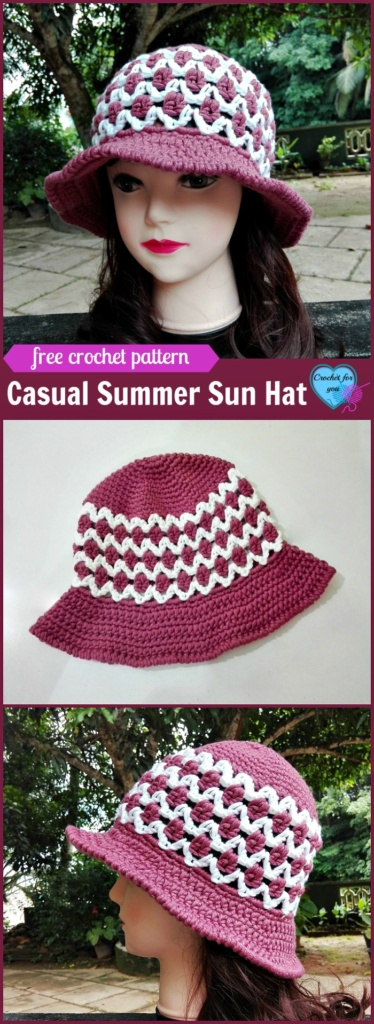 Casual Summer Sun Hat - free crochet pattern