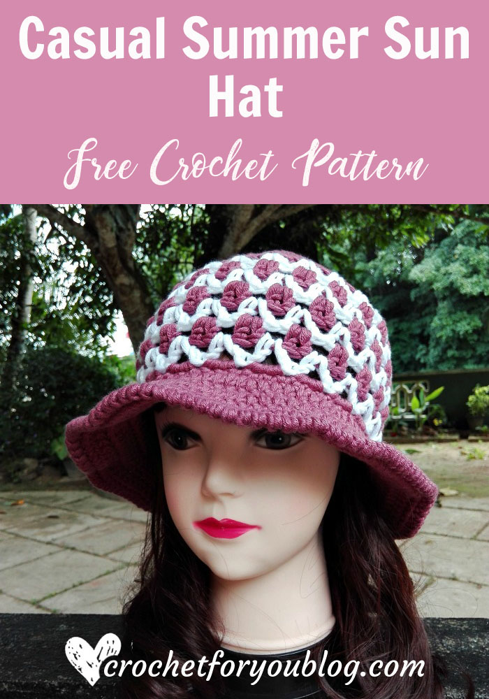 Crochet Casual Summer Sun Hat Free Pattern Crochet For You
