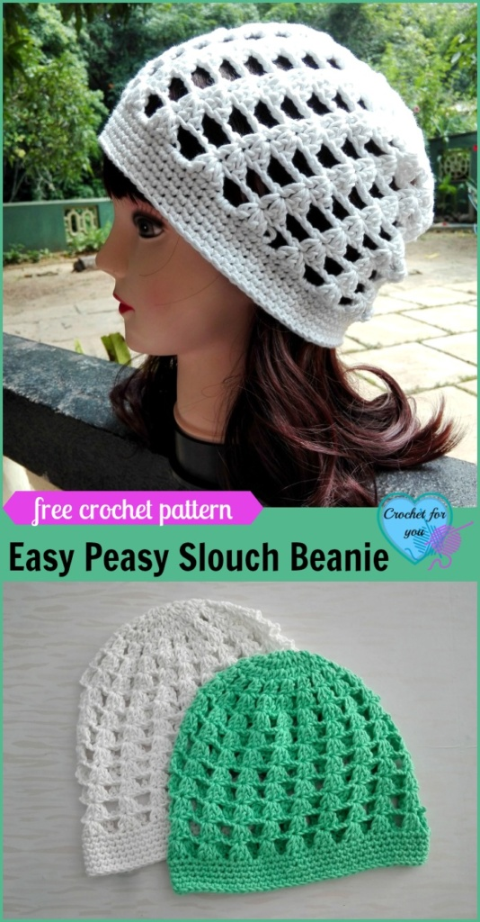 Easy Peasy Slouch Beanie Free Crochet Pattern - Crochet ...