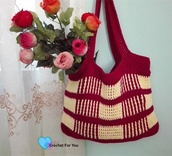 Crochet Uptown Plaid Tote Bag Free Pattern Crochet For You
