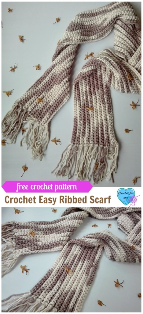 Crochet Easy Ribbed Scarf - free pattern