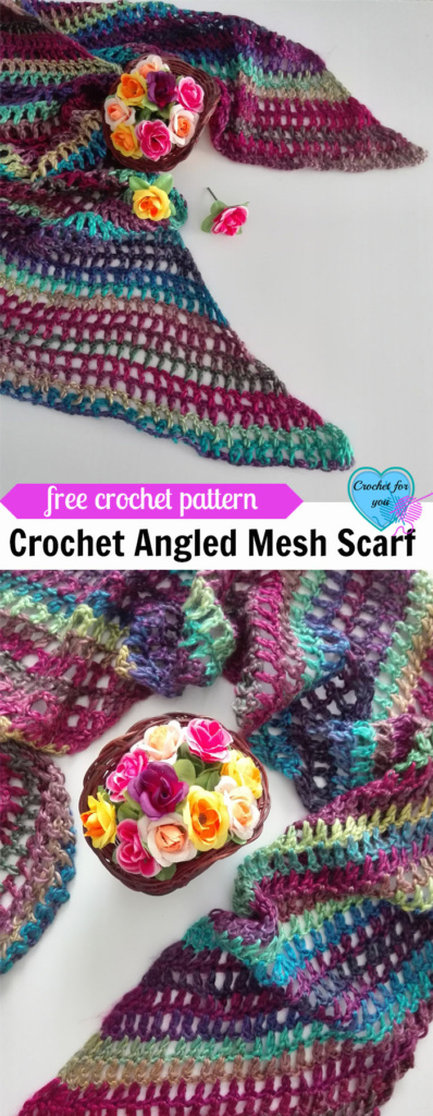 Crochet Angled Mesh Scarf - free pattern