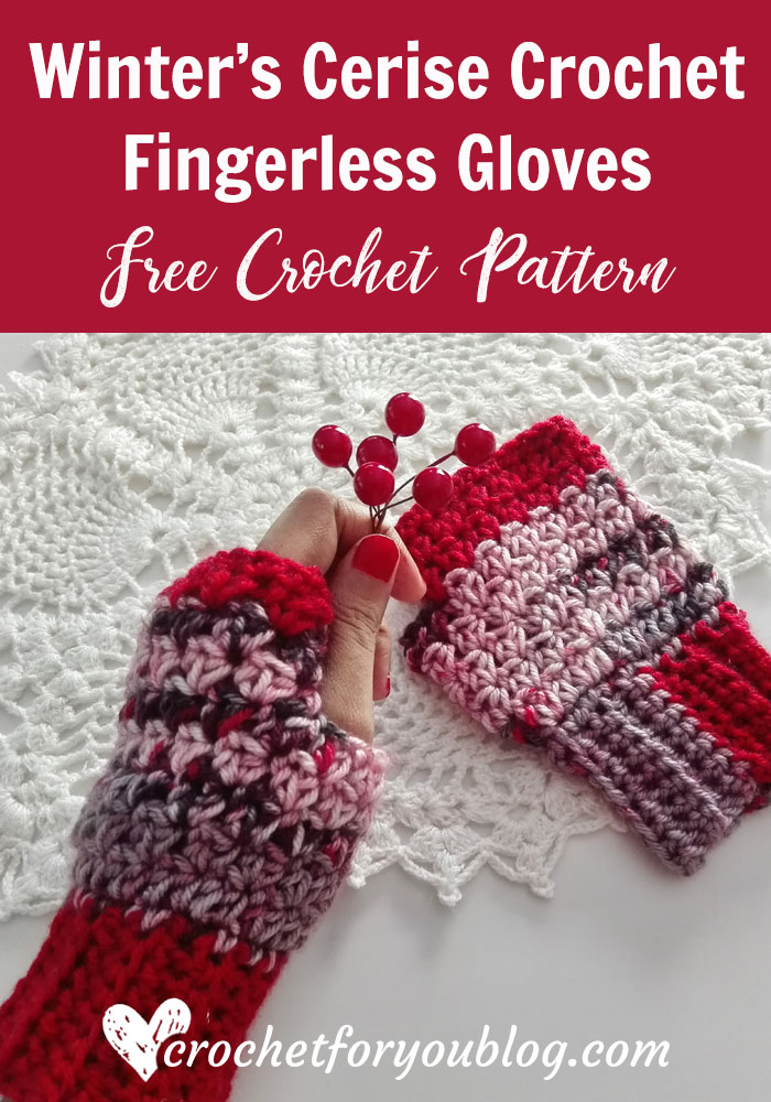Winter's Cerise Crochet Fingerless Gloves - free crochet pattern