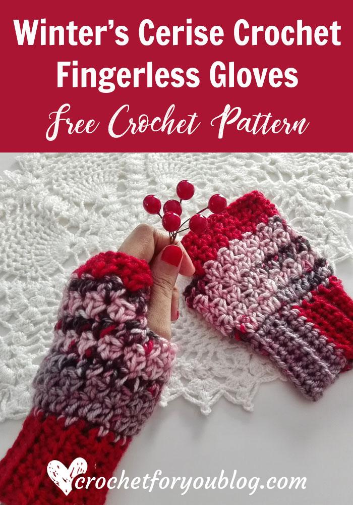 Winter\'s Cerise Crochet Fingerless Gloves Free Pattern - Crochet For You