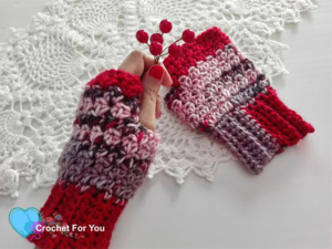 Winter's Cerise Fingerless Gloves - free crochet pattern