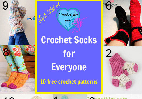 Link list 86: 10 Free Crochet Socks Patterns for Everyone