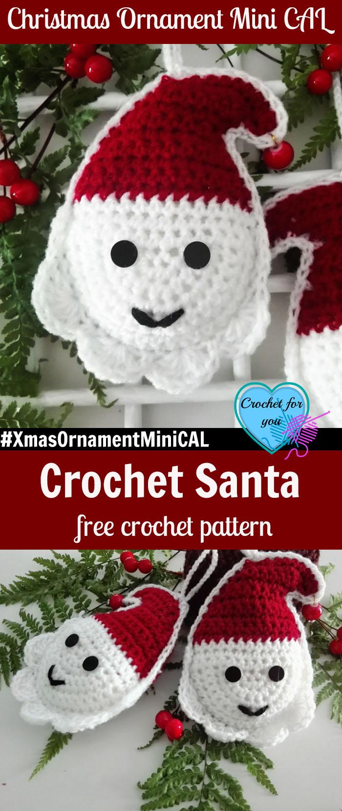 Christmas Ornament Mini Cal Crochet Santa 88 Crochet For You