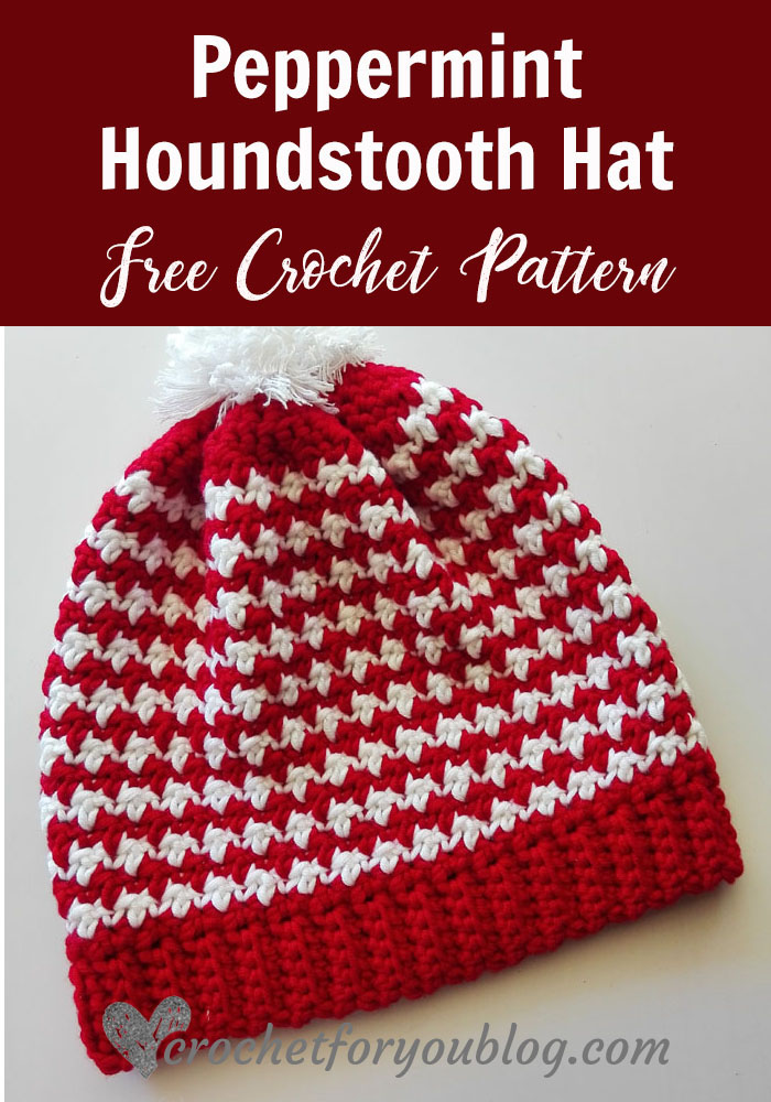 Peppermint Houndstooth Crochet Hat - free crochet pattern
