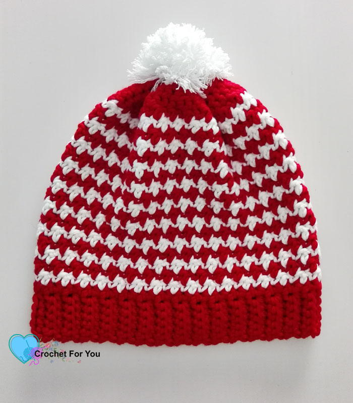 Peppermint Houndstooth Crochet Hat Free Pattern
