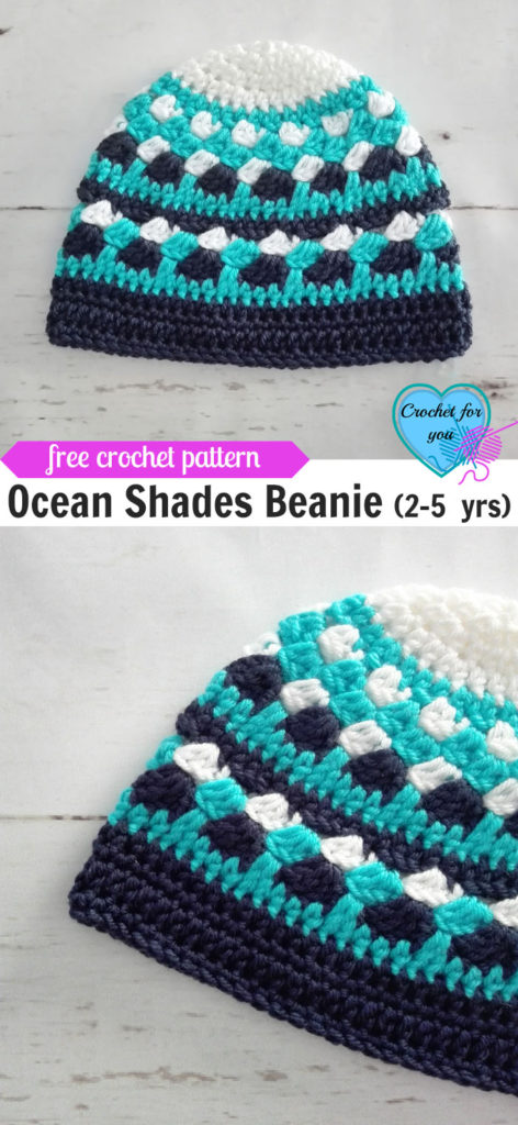 Ocean Shades Child Beanie (2-5 yrs) Free Crochet Pattern