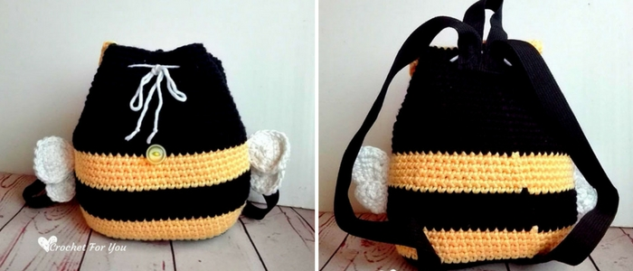 Crochet Bumble Bee Backpack - free crochet pattern 10 - Crochet For You