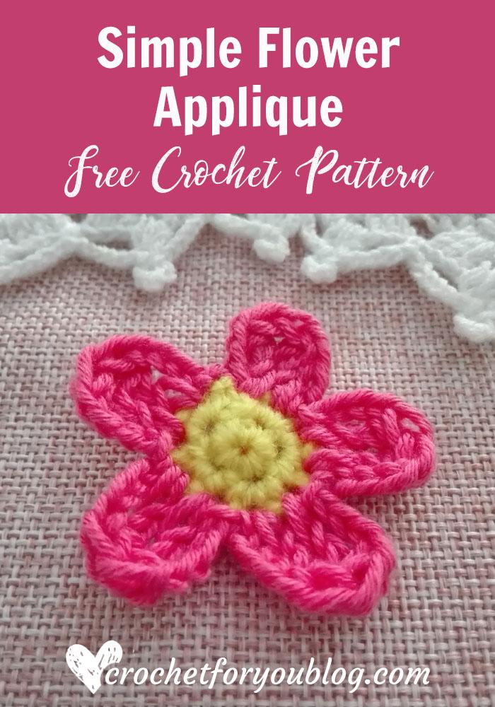 Crochet Simple Flower Applique Free Pattern Crochet For You